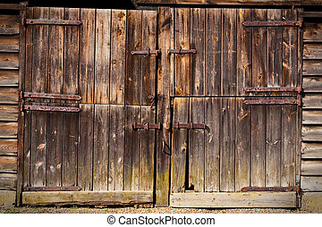 wooden door - old rustic wooden door
