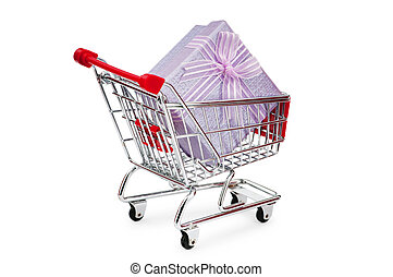 Shopping cart and giftboxes on white