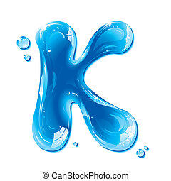Water Liquid Letter - Capital K - Liquid Alphabet Gel Series...