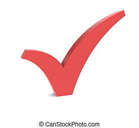 Check Mark. -  A Check Mark. Red isolated on white.