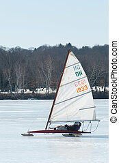 Ice Sailing - Ice sailing on Lake Quannapowitt, Wakefield,...