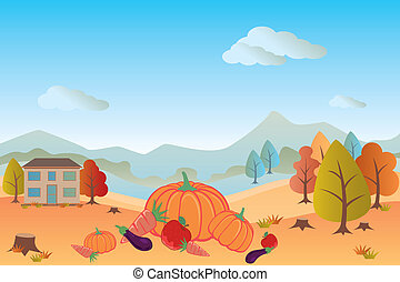 Autumn landscape - Illustration vector