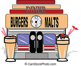 malt shop retro background - malt shop diner on white with...