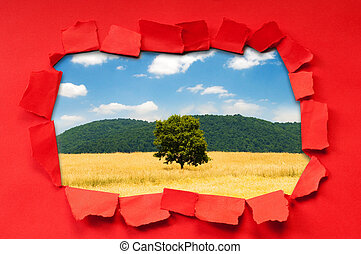 Torn paper with trees through the hole