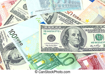 Money background - Euro and dollars can be used for...