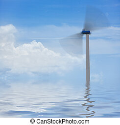 Green power - Environmental concept, wind turbine on blue...