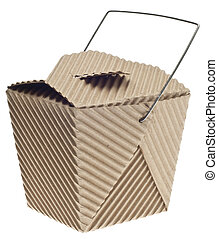 Take Away Container in Cardboard Isolated on White with a...