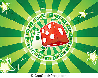 Dices casino background - Casino dices over classic table...