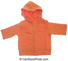 Orange Hooded Sweatshirt Isolated on White with a Clipping...