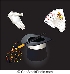 Simple kind of magic - Magician hands with aces and joker,...