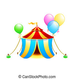 Circus symbol - Circus tent with balloons isolated