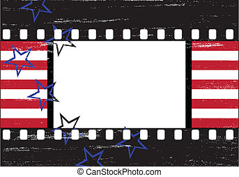 Grungy Hollywood frame - Stars and stripes over grungy...