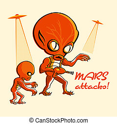 Mars attacks - Martian invasion in retro three color print...