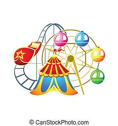 Amusement park symbol - Circus, ferris wheel and...