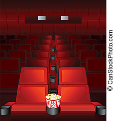 love-seat is waiting - Empty chairs inside movie cinema with...