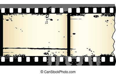 Old grungy film strip - Two frames of grungy film strip in...
