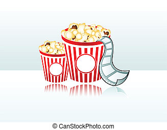 Ready for movie time - Two popcorn buckets with film strip