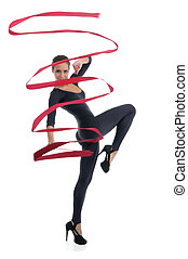 dancing woman with red ribbon isolated on white