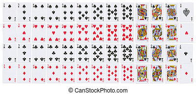 Full deck of playing cards isolated on white