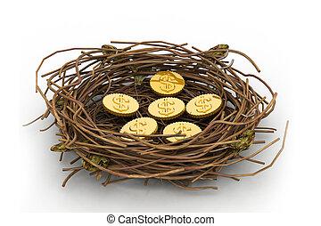 Dollar coin in nest