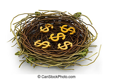 Dollar sign in nest - Dollar sign in being protected in a...