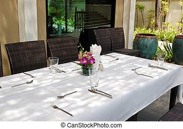 Table set at the outdoor restaurant, Phuket, Thailand