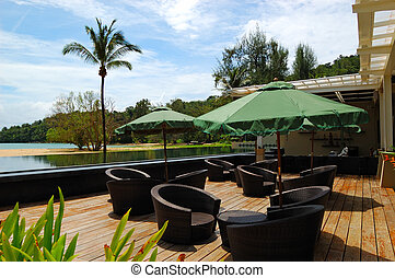 Outdoor restaurant at the luxury hotel, Phuket, Thailand