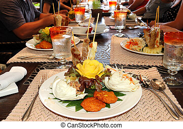 Traditional Thai food in the restaurant of luxury hotel,...