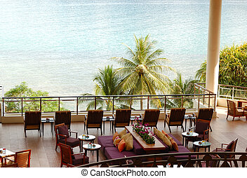 Lounge sea view area at luxury hotel, Phuket, Thailand