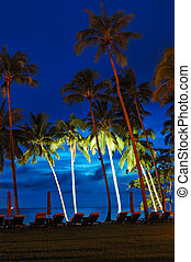 Beach at sunset with illuminated coconut palms, Koh Chang island, Thailand