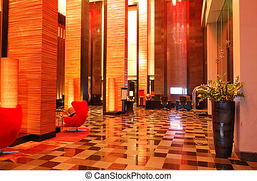 Modern lobby interior in night illumination, Pattaya,...