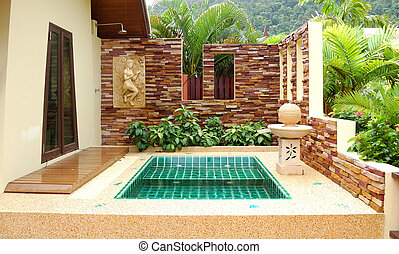 Outdoor jacuzzi at the luxury villa, Koh Chang, Thailand