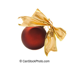 christmas decorations of red ball isolated over white...