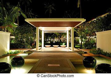 Illuminated lounge area of luxury hotel, Samui, Thailand