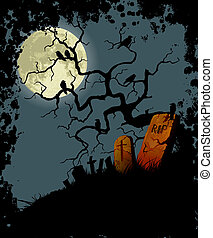 Halloween background with tree, crows and cemetery