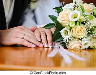 Wedding Ring and hands - Bride & Groom, Hand married