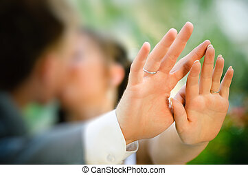 Kissing Couple with Engagement Ring