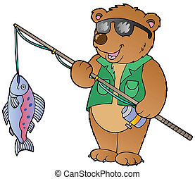 Cartoon bear fisherman - vector illustration