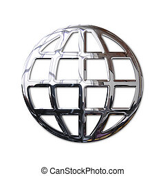 Chrome World Wide Web globe sign. Isolated object with...
