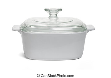 White saucepan with glass lid - Saucepan closed with glass...