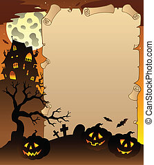 Parchment with Halloween topic 1 - vector illustration