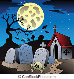 Halloween scenery with cemetery 1 - vector illustration.