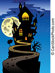 Scene with Halloween mansion 2 - vector illustration