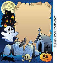 Parchment with Halloween topic 2 - vector illustration.