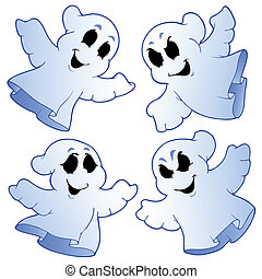 Four cute ghosts - vector illustration