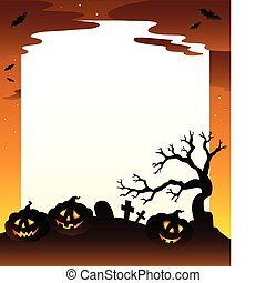 Frame with Halloween scenery 1 - vector illustration