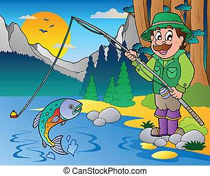 lago, caricatura, pescador, 1