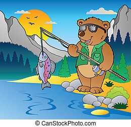 Lake with cartoon fisherman 2 - vector illustration.