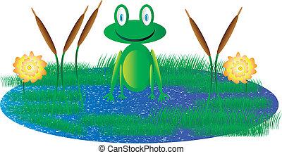 Cute frog sitting in swamp