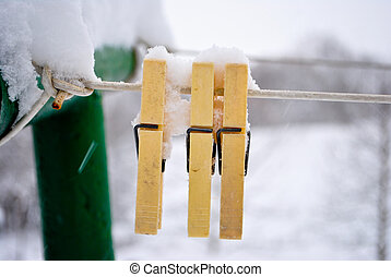 pegs in the snow
